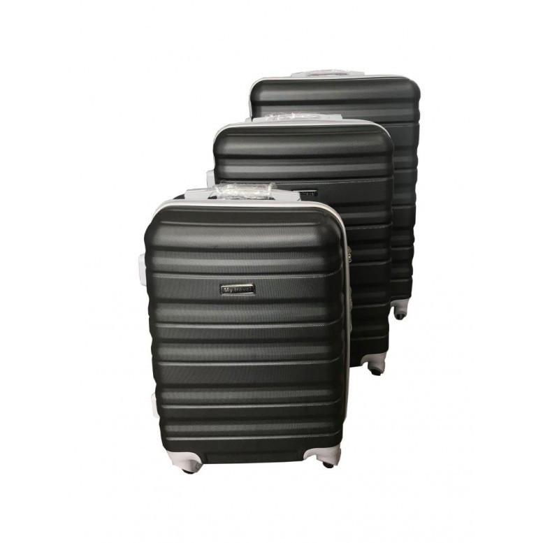 4ff5b03ff5e7 Набор дорожных чемоданов пластиковый комплект тройка цвет черный - Online  Market Plus в Одессе