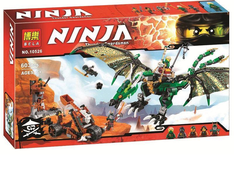 Конструктор Bela Ninja 10526 (аналог Lego Ninjago 70593) Зелёный энерджи дракон Ллойда 603 детали