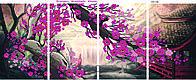 """Полиптих """"Волшебство Японии"""" схема для вышивки бисером на атласе состоящие из четырёх частей"""