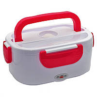 Электрический ланч бокс с подогревом от сети 220В Electric Lunch Box 1.05 л Белый с красным
