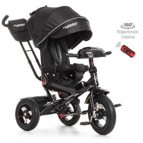 Трехколесный велосипед с поворотным сиденьем и пультом Turbotrike M 4060-20 Черный с резиновыми колесами