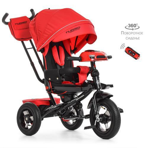Трехколесный велосипед с поворотным сиденьем и пультом Turbotrike M 4060-1 Красный с резиновыми колесами
