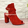 Женские красные босоножки на высоком устойчивом каблуке, фото 2