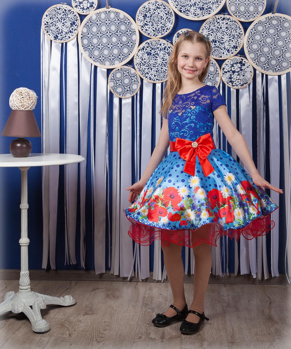 """Красивое нарядное детское платье """"Маки"""""""