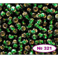 Чешский бисер Preciosa 321-57150, т.зеленый ,  блестящий