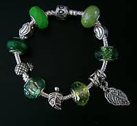 Женский браслет Pandora (Пандора) весенний зеленый