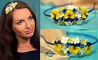 """""""Сине-желтые анютки"""" ободок с цветами из полимерной глины."""
