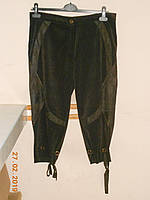 Шоколадные вельветовые укороченные брюки с атласной отделкой Albert, фото 1