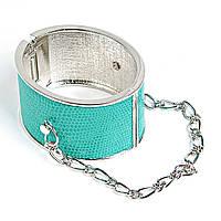 [6см] Браслет женский,металл  твёрдый, обруч, украшен цепочкой, цвет- мятный Код:719019075