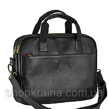 Сумка портфель из натуральной кожи Конг VS008 black, 34х25х8