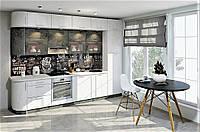 Кухня под потолок мрамор бетон серый/ясень белый