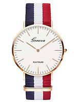 Часы наручные Geneva Platinum на тканевом ремешке в полоску