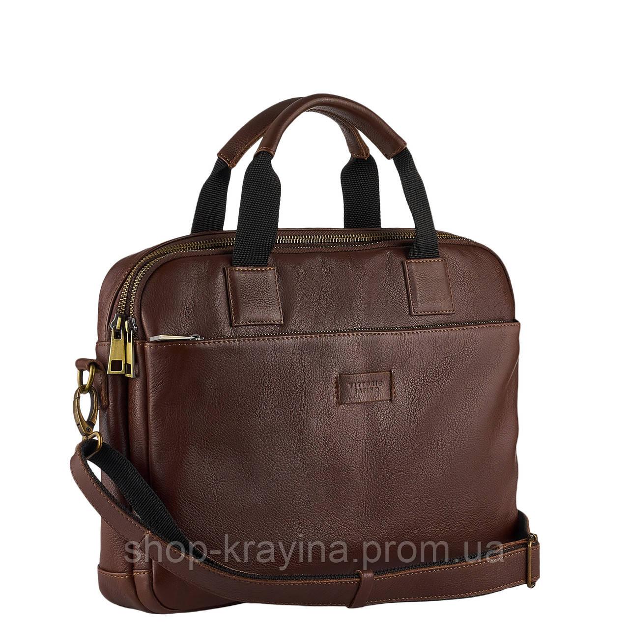 Сумка портфель из натуральной кожи Конг VS008 dark brown, 34х25х8