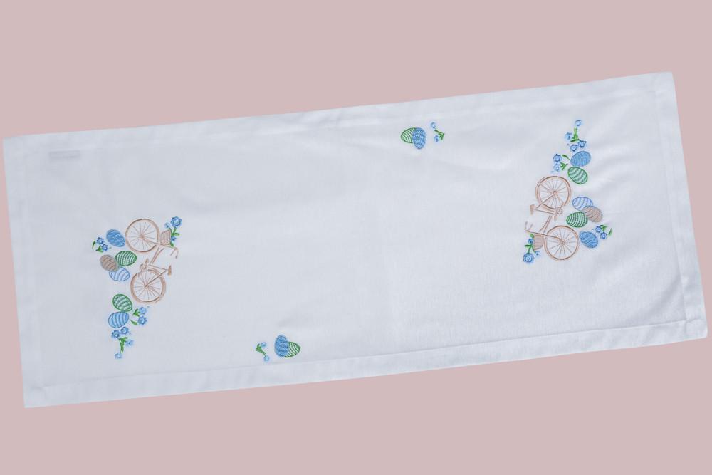 Дорожка на стол белая с вышивкой пасхальная вышитый наперон раннер 40x100 см
