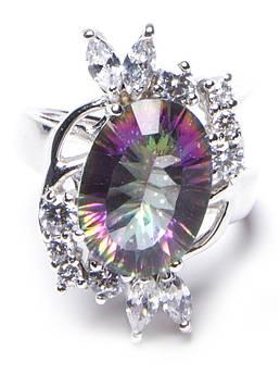 Кольцо серебряное с мистик топазом