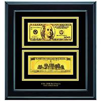 Золотая купюра 100$ 2-сторонняя в рамке GOLDEN (090 HB)