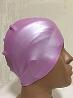 Шапочка силиконовая для бассейна  розовый перламутр
