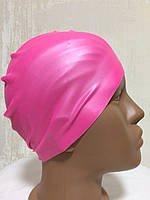 Шапочка силиконовая для бассейна розовый неон