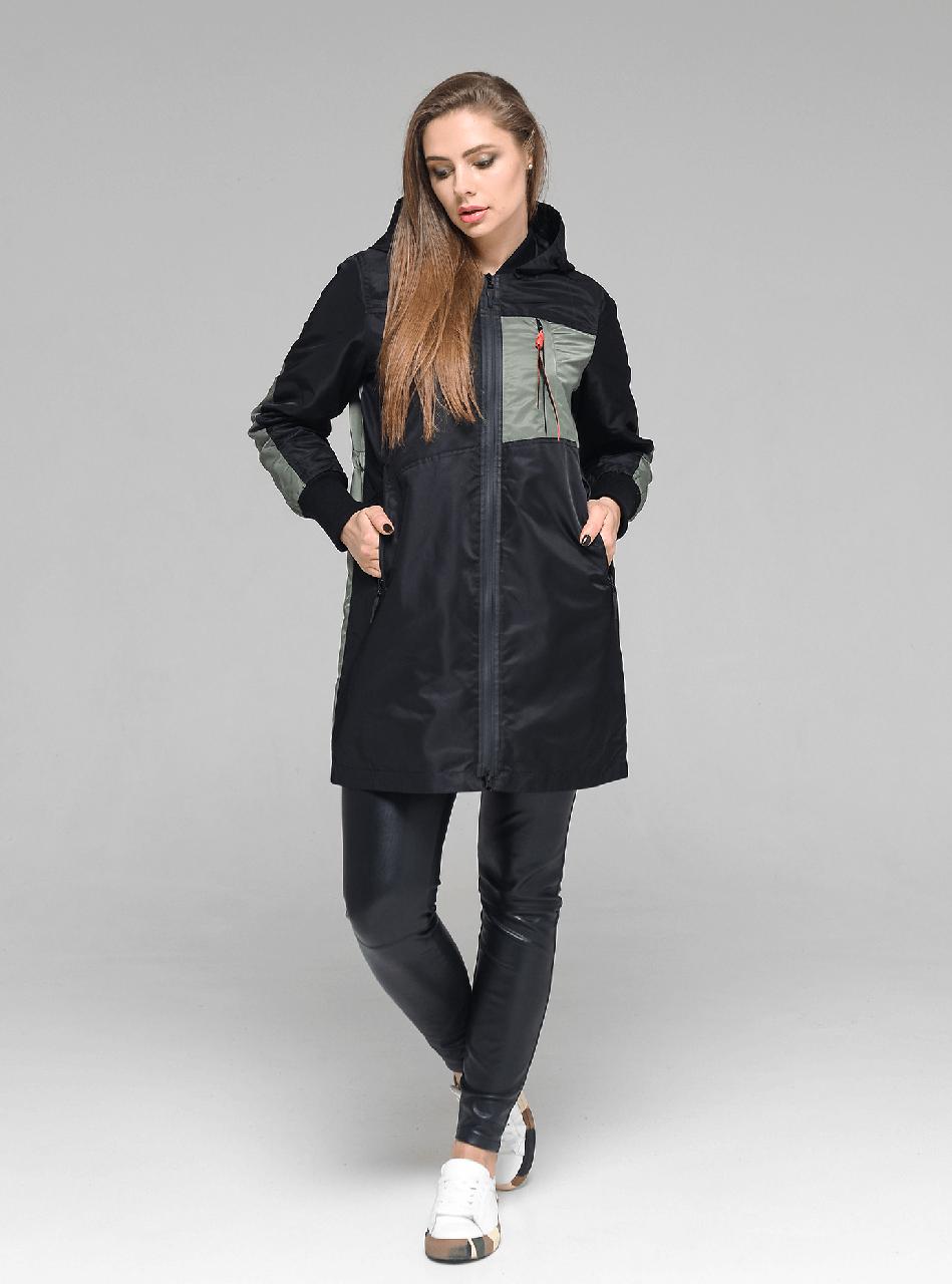 Легкая женская демисезонная курточка CW19C515CW черный + хаки (#701) - новая коллекция CLASNA, размер M