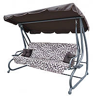 Садовая качеля - диван 4-х местная раскладная Ramiz КОРИЧНЕВАЯ новый дизайн + 2 подушки в подарок