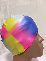 Шапочка силиконовая для бассейна цветная 2