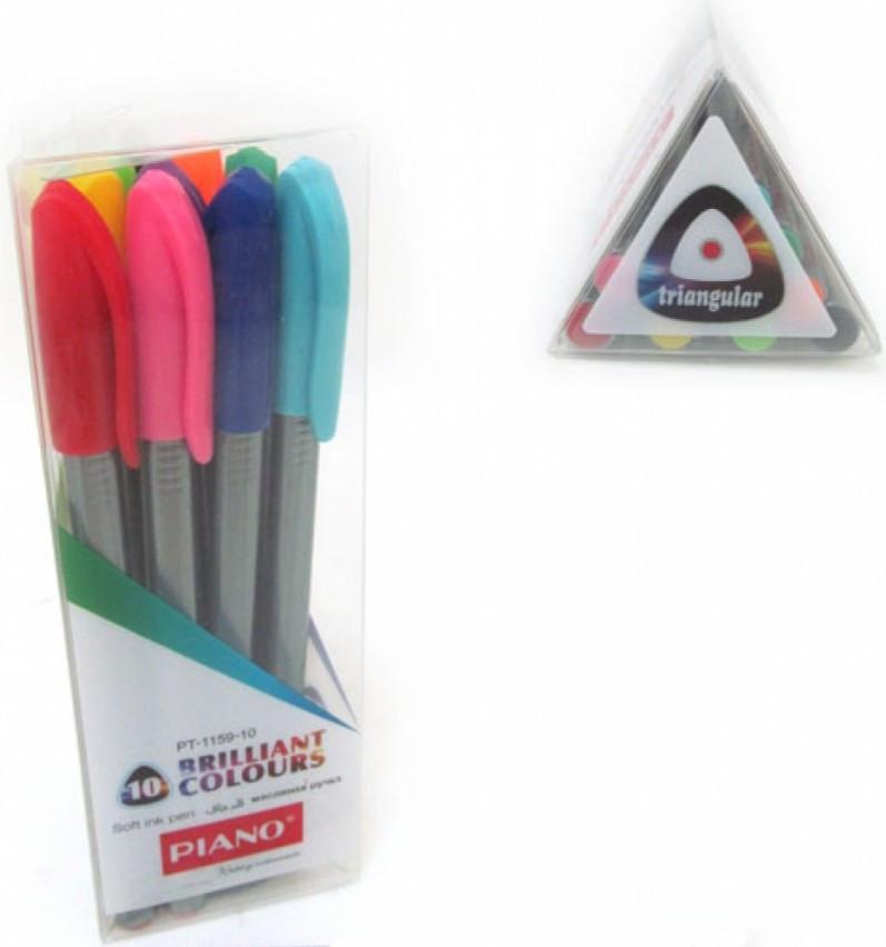Набор шариковых ручек 10 цветов чернила на масляной основе Piano, PT-1159-10, 302246
