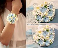 """""""Фрезии с  голубыми гортензиями"""" браслет для невесты или свидетельницы , фото 1"""