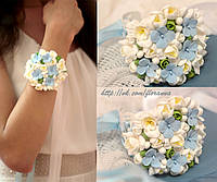 """""""Фрезии с  голубыми гортензиями"""" браслет для невесты или свидетельницы"""