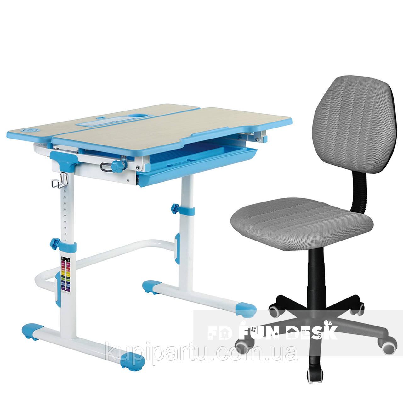 Комплект растущая парта Lavoro L Blue + детское компьютерное кресло LST4 Grey FunDesk