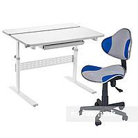 Комплект парта Colore Grey + детское компьютерное кресло LST3 Blue FunDesk