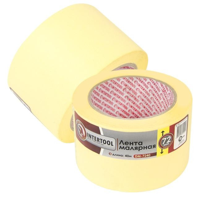 Лента малярная (крепп) желтая, ширина 72 мм, длина 40 м INTERTOOL DM-7240