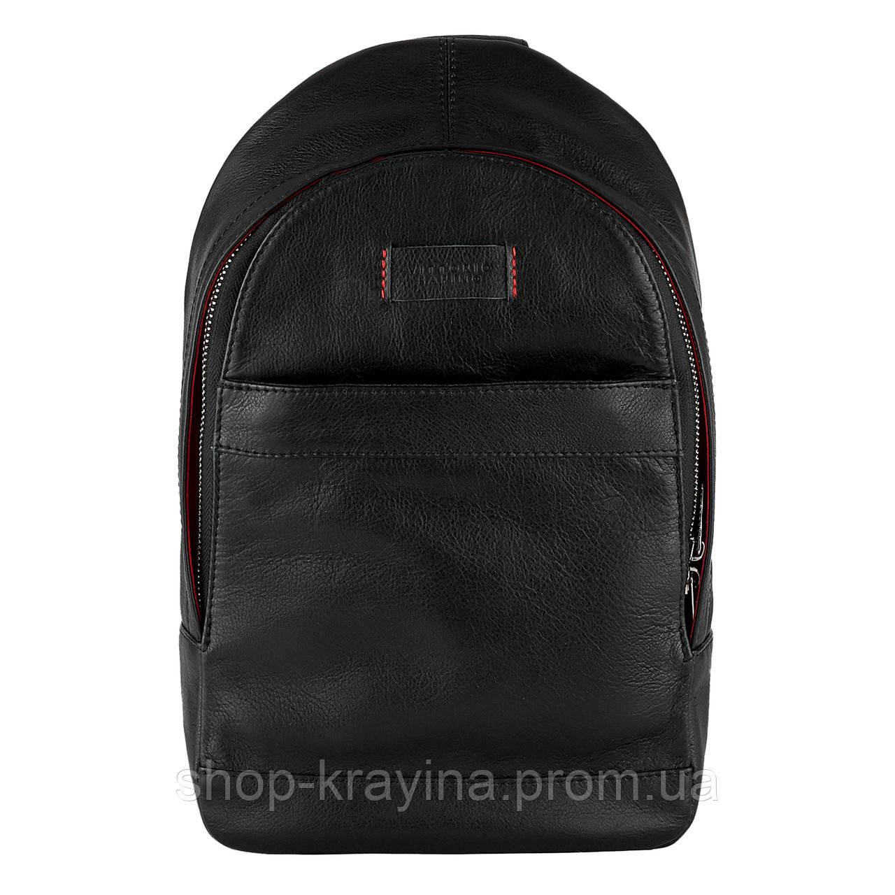 Рюкзак Cross-body из натуральной кожи Конг VS024 Унисекс black, 32х20х7