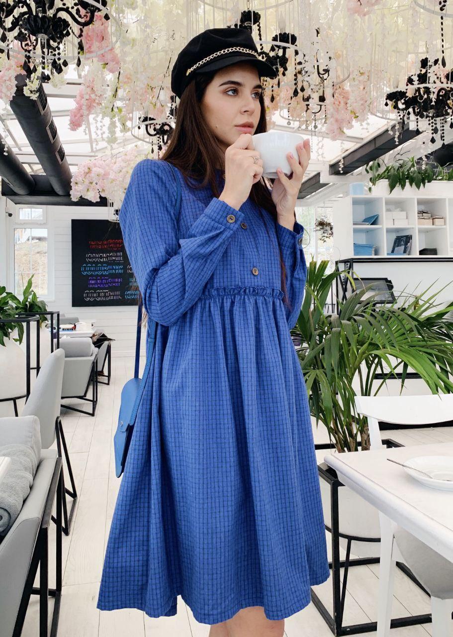 Платье-рубашка oversize в клетку (SMLXL)