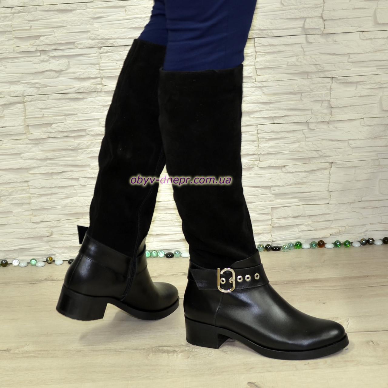 Сапоги женские зимние комбинированные на невысоком каблуке