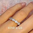 Серебряное кольцо с Тиффани с фианитами бриллиантовой огранки, фото 2