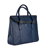 Сумка портфель из натуральной кожи Конг унисекс VS025 blue, 42х32х10, фото 3