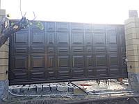 Откатные ворота с заполнением филенка