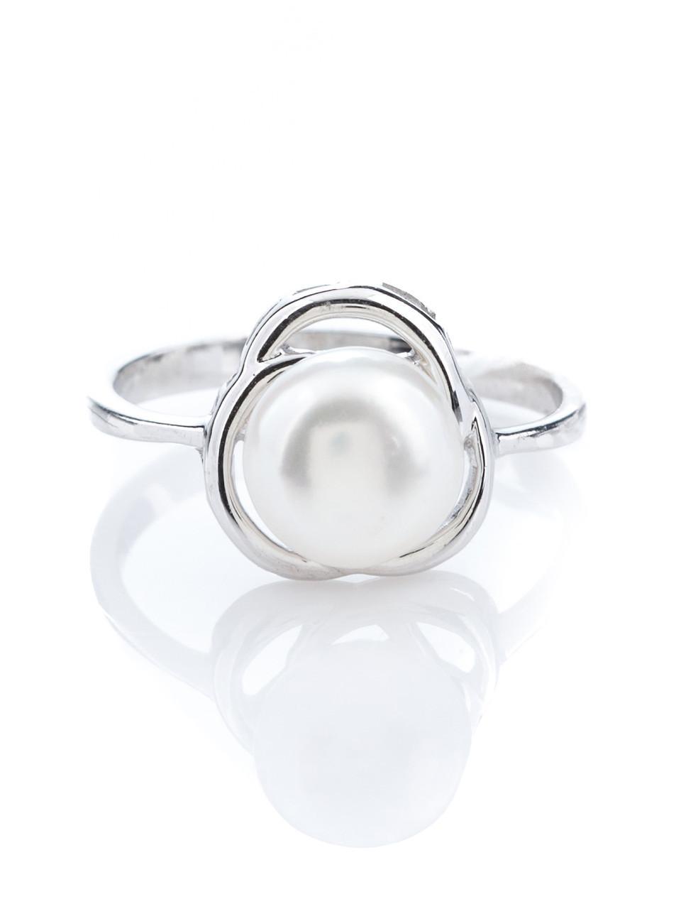 Кольцо серебряное с белым жемчугом