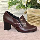 Кожаные женские туфли на невысоком каблуке, декорированы фурнитурой. Бордовый цвет, фото 2