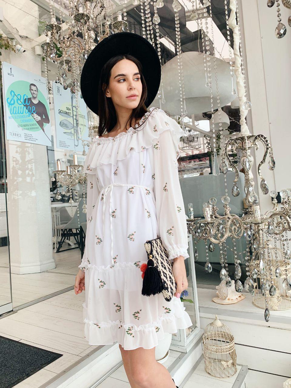 Шифоновое платье-двойка с вышивкой (SM и LXL)