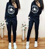 Женский спортивный костюм Конверс, двухнитка, размер S, M, L, XL, черный, серый, бордовый, темно-синий, пудра
