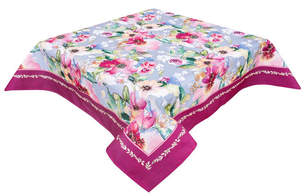 Скатерть тканевая гобеленовая пасхальная Цветочная акварель 137 х 240 см
