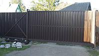 Откатные ворота с заполнением штакетник