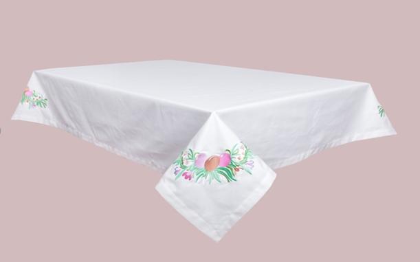 Скатерть тканевая пасхальная Limaso Лимасо Писанки белая вышитая 140x180 см с вышивкой