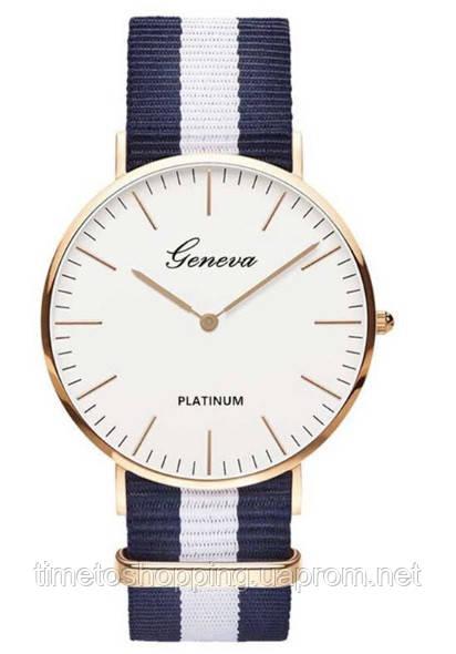 Часы унисекс Geneva Platinum на тканевом ремешке в полоску