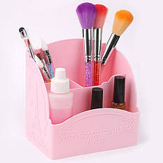 Подставка для косметики G-06 светло розовая 3 ячейки для кистей, карандашей, туши, фото 2