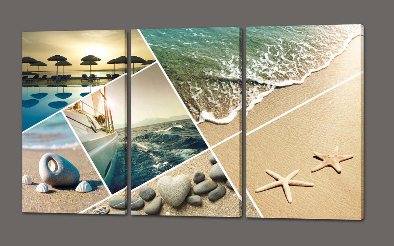Модульная картина на коже Море 120*70 см Код: 283.3к.120