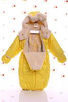 Зимний комбинезон трансформер желтый в горошек