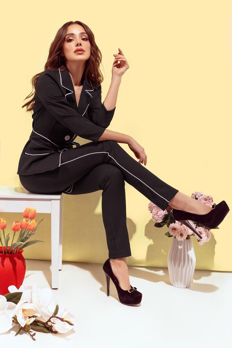 d5a43c2b3e0a Женский костюм 032 турецкая костюмка барби + подарок стильный пояс цвет  черный - Интернет магазин Modniy