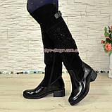 Ботфорты женские зимние на каблуке, декорированы камнями, натуральный лак+ замш, фото 3